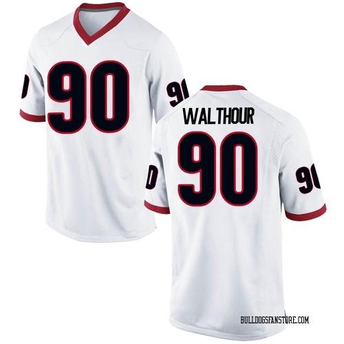 Youth Nike Tramel Walthour Georgia Bulldogs Replica White Football College Jersey
