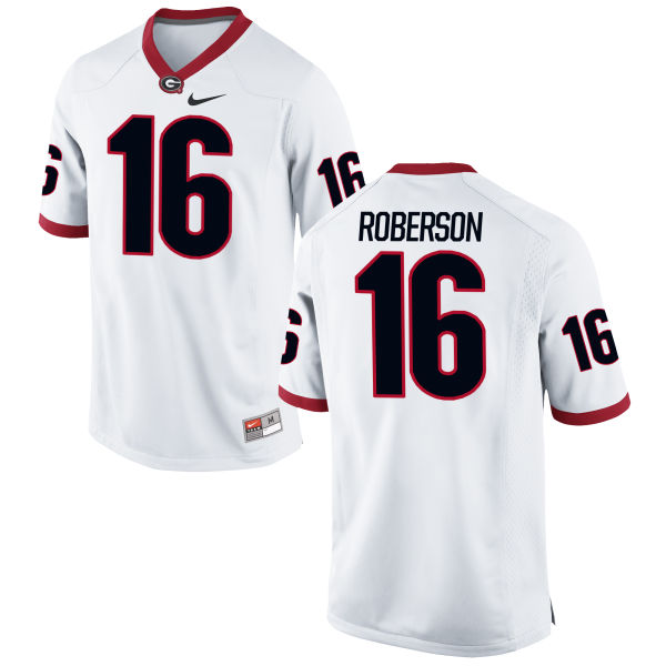 Men's Nike Caleeb Roberson Georgia Bulldogs Game White Football Jersey