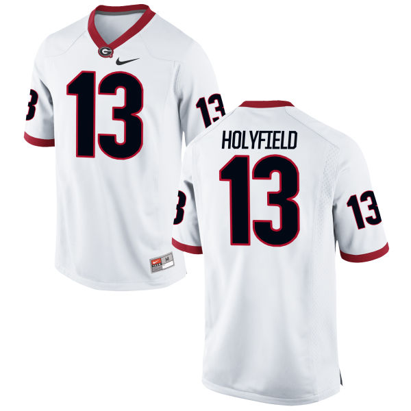 Youth Nike Elijah Holyfield Georgia Bulldogs Authentic White Football Jersey