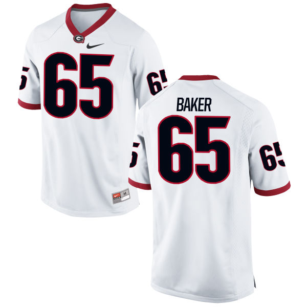 Men's Nike Kendall Baker Georgia Bulldogs Game White Football Jersey