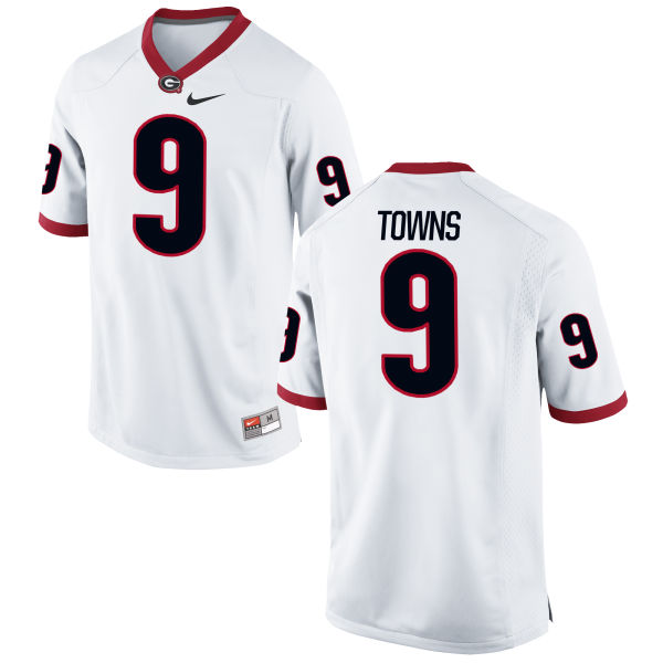 Men's Nike Kenneth Towns Georgia Bulldogs Replica White Football Jersey