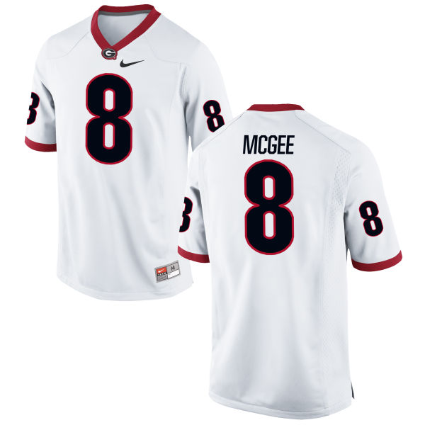 Men's Nike Shaun McGee Georgia Bulldogs Game White Football Jersey