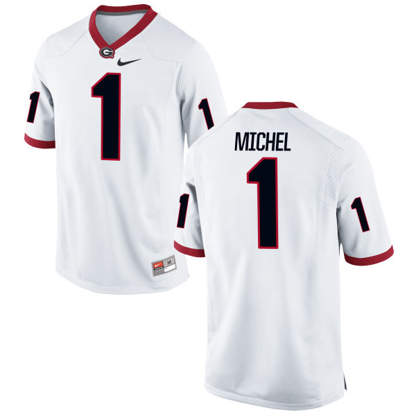 Men's Nike Sony Michel Georgia Bulldogs Game White Football Jersey