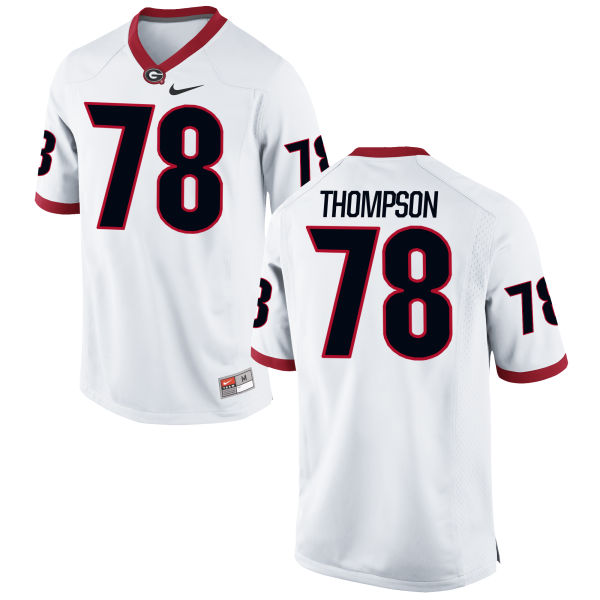 Men's Nike Trenton Thompson Georgia Bulldogs Authentic White Football Jersey