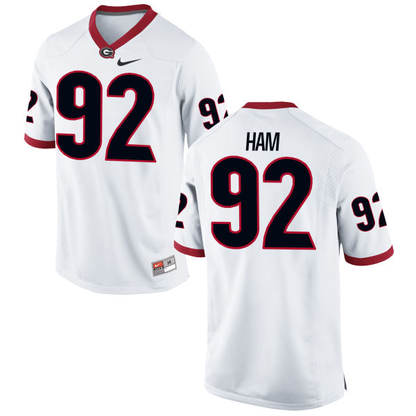 Men's Nike William Ham Georgia Bulldogs Game White Football Jersey